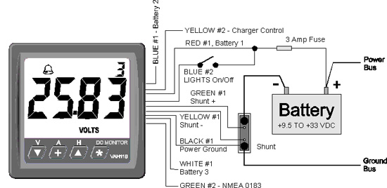 Three Bank Battery Monitoring System : Vah digital battery monitor e marine systems