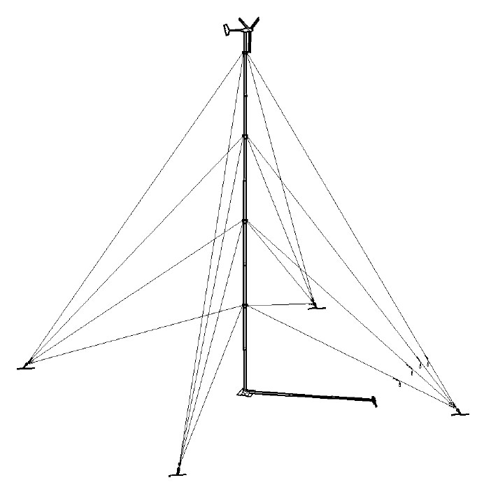 Pika Guyed Tilt Tower for T701 Pika, Guyed Tower, Guyed Tilt Tower, Pika T701 Wind Turbine