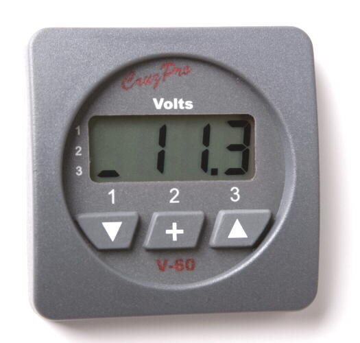 CruzPro V60 Digital Volts Gauge (Three Battery Bank) V60 Digital Volts Gauge, V60R, V60S